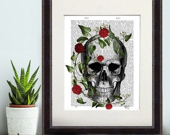 Skull Print With Vine and Flowers - skull Art Print Digital Illustration Drawing Poster Digital Print Wall Art Wall Hanging Digital poster