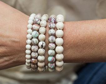 Bracelet Stack, Set of Five, Beaded Bracelets, Stretch Bracelets, Boho Bracelets, Turquoise Bracelets, Layering Bracelets, Boho