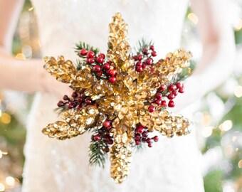 Wedding Bouquet - Snowflake Bouquet - Gold Bridal Bouquet for a Winter Wedding - Winter Bouquet, Christmas Wedding Bouquet for Bride