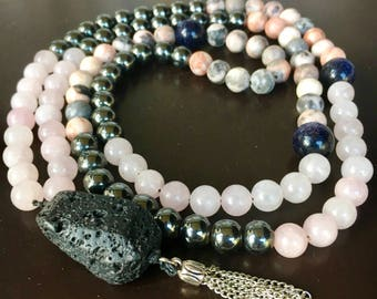 "Self Love Mala, Rhodonite, Rose Quartz, Hematite, Goldstone Mala, Lava stone Mala, ""The Healing Wolf"" Mala"