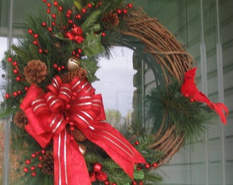 Winter Wreath, Cardinal Wreath, Christmas Wreath