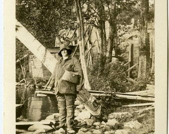 1935 Woman Fishing with CREEL BASKET Vintage Photograph Lake Cabin Decor Photography Prop