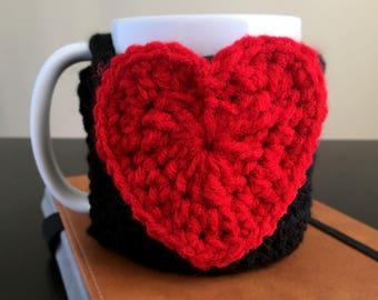 Red Heart Crochet Mug Coaster Cozy - Mug Sweater - Valentine's Day Cozy - Valentine's Day Gifts