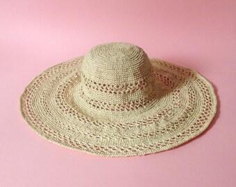 Raffia Straw Floppy Wide Brim Packable Sun Hat Summer Holiday