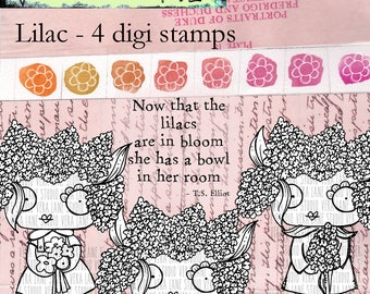 Lilacs - 4 digi stamp bundle