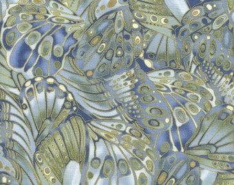"""Butterfly Fabric, Metallic Fabric: Shimmer Butterflies with Metallic by Timeless Treasures 100% cotton fabric by the yard 36""""x43""""  (TT369)"""