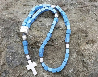 First Communion Gift Rosary Made with Lego® Bricks - Blue and White