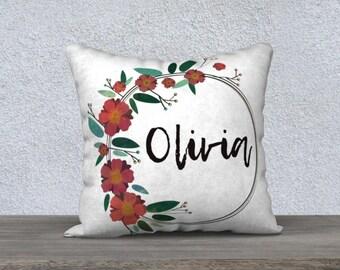 Personalized Pillow Case, Watercolor Floral Wreath Pillow Case, Custom Watercolor Floral Nursery Pillow, Floral Nursery Decor