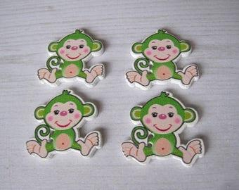 "Set of 4 ""monkey fun"" wooden buttons"
