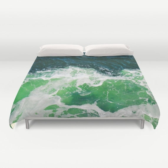 Green Ocean Waves Duvet Cover, Waves Decorative bedding, unique design, Nautical cover, Aqua Blue Green bedroom, Beach, Surf, Water, dorm