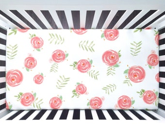 Fitted crib sheet. Soft Floral watercolor flowers roses pink coral blush peonies. Organic crib sheet. Baby girl (#0149)