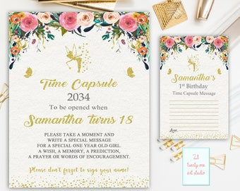 Fairy Time Capsule Sign, Floral Time Capsule Sign First Birthday, Time Capsule First Birthday + Matching Note Cards, Printable