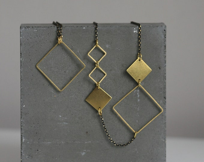Continuous Geometric Brass and Jasper Necklace | Minimalist | Geometric | Gift