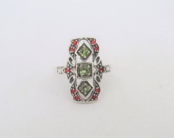 Vintage Sterling Silver Peridot & Ruby Filigree Ring Size 7