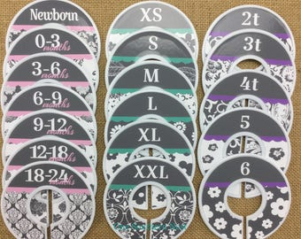 Closet Dividers, Baby Shower Gift, Newborn Baby Gift, Baby Girl Gift, Infant, Toddler, Child, size dividers, grey, gray
