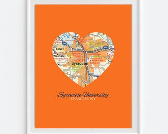 Syracuse New York University Vintage Heart Map Art Print, Christmas gift for her, Syracuse Orange
