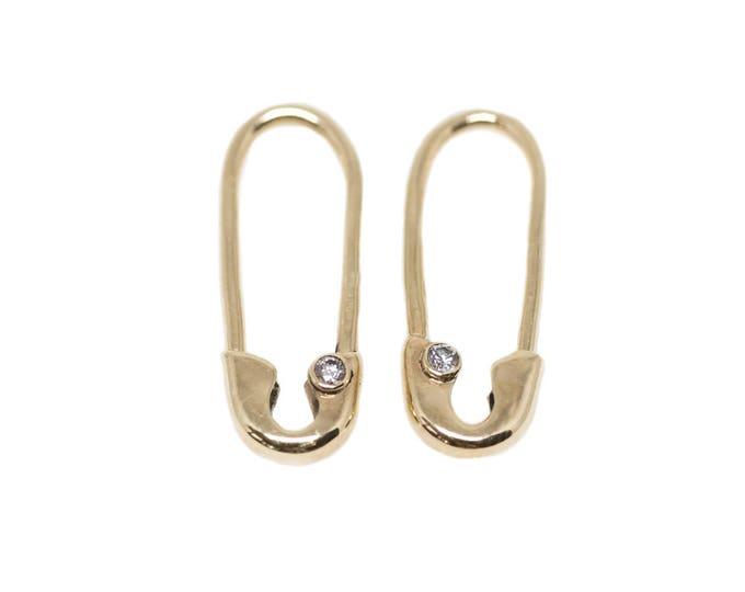 Mini Gold Diamond Safety Pin Earrings (Single)