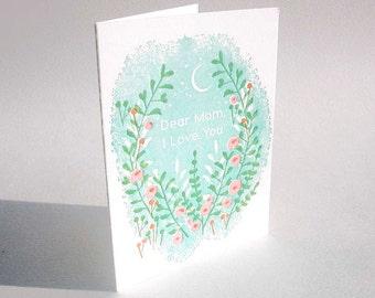 "A2-123 Flowers "" Dear mom, I love you"" letterpress card"