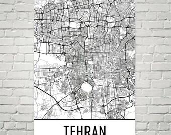 Tehran Map, Tehran Art, Tehran Print, Tehran Iran Poster, Tehran Wall Art, Tehran Gift, Map of Tehran, Tehran Decor, Tehran Map Art Print