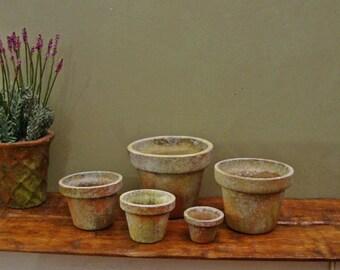 Set (5) Aged Planters ~ 1:12th Scale Dollhouse Miniature Garden Pots