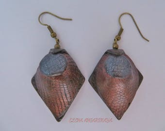 Unique Antiqued Leather Polymer Clay Earrings, Dangle Earrings