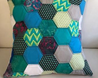 Modern Quilted Pillow Blue Hexagons