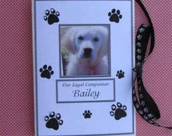 Personalized Pet Keepsake Photo Album, Animal Lovers, Pet Adoption, New Pet, Pet Memorial Gift, Dog, Cat, Hand-Beaded Paw Prints 5x7, 6x7.5