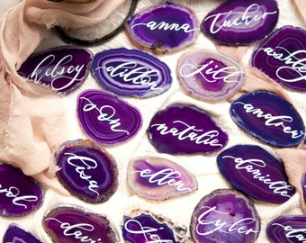 "2""-3"" Purple Agate Slices Name Cards (DO NOT PURCHASE-20 minimum)"