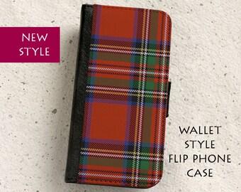 iPhone Case (all models) - Royal Stewart Tartan - Scottish - Wallet style flip case -  Samsung Galaxy S4,S5,S6,S7Edge,Note5,S8 & more