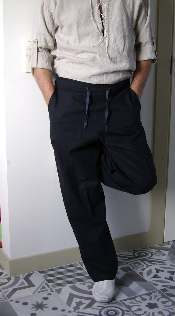 Mens Linen Shorts/ from washed natural linen fabric/ with side pockets, rubber belt, and draw a twine