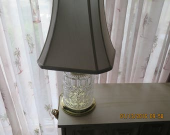 Vintage Cut Crystal Glass Lamp, Action West Germany Floral Cut, 24% Leaded Table Lamp