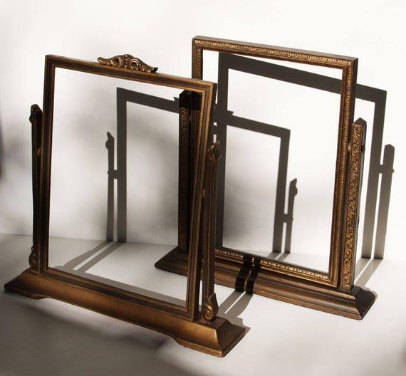 Tabletop Picture Frames, Embossed Gold, Pedestal, Swing Frames, 2 ...