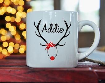 Rudolph Antlers Kid Size Mug, Christmas,