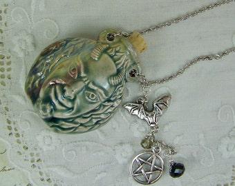 Devil Necklace, Bottle Necklace, Horned Devil, Ash Urn, Essence Necklace, Vessel Necklace, Flask, Raku Necklace, Demon, Pentagram Necklace