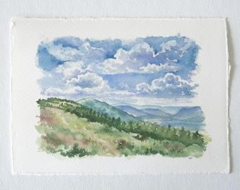 Dolly Sods Watercolor Print - WV Landscape Print - Landscape Watercolor Illustration
