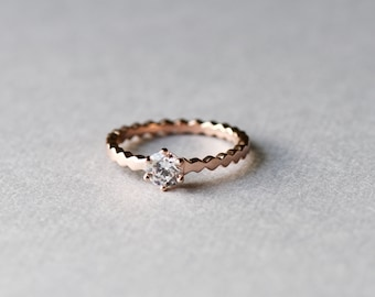 Solitaire Ring, Minimalist Ring, Dainty Ring, Rose Gold Ring, Simple Ring, Stackable Ring, Gift For Her