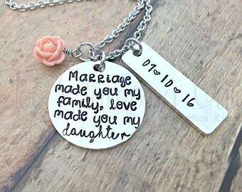 Blended Family | Blended Family Wedding | Daughter In Law Wedding Gift | Daughter Wedding Gift | Step Daughter Gift | Daughter Necklace