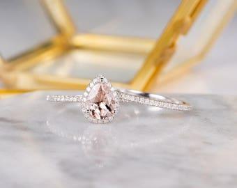 White Gold Morganite Engagement Ring Set Bridal Set Pear Shaped Art Deco Halo Diamond Women Half Eternity Wedding Anniversary Gift For Her
