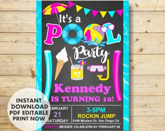 Pool Invitation, Pool Party Invitation, Pool Birthday Invitation, INSTANT DOWNLOAD, Swimming Pool Birthday Party, for girl, it's pool party