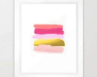DIGITAL Download Printable Art | Abstract Watercolor Print | Pastel | Modern Art Print | Children's Room Decor | Blush Pink & Gold | Office
