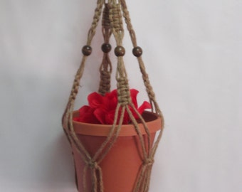 Macrame Plant Hanger Natural heavy Jute Vintage Style 28 inch with BEADS