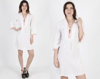 White Gauze Dress Beach Cover Up Summer Dress Hooded Dress Vintage 70s Boho Hippie Beach Coverup Bell Sleeve Womens Sun Mini Dress S