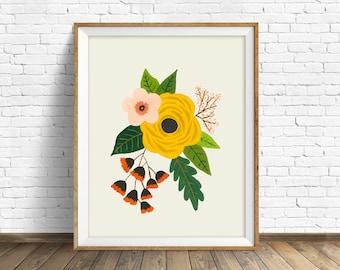 "floral art prints, flower wall art, folk art, instant download printable art, modern, contemporary, yellow, prints -""Folk Art Flowers No. 3"""