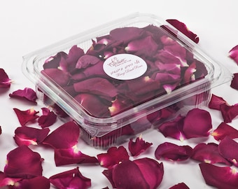 Freeze dried rose petals.  Dried Red Rose Petals. Fragrant petals. 1 Liter box (5 cups).  Buy 6 get 1 free!