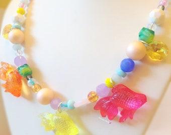 Kawaii Pastel Mermaid Fishy Necklace - Charm Necklace, Plastic Jewelry, Costume Jewelry, Ocean Jewelry
