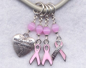 Breast Cancer Awareness Knitting Stitch Markers Fighter Pink Ribbon Enameled Set of 4 /SM171