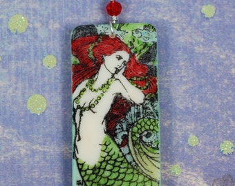 Red and Green Mermaid Domino Necklace