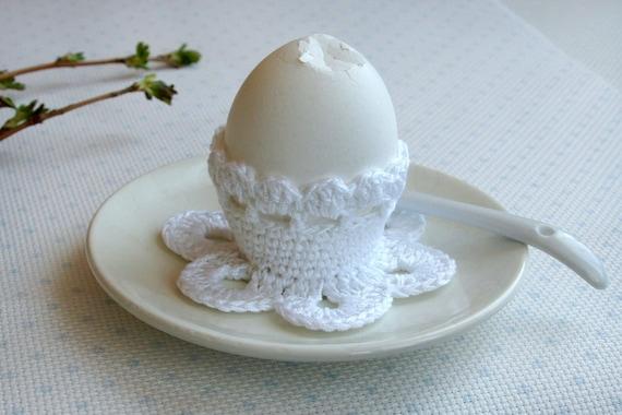 Crochet egg holder easter egg cozy white romantic breakfast like this item negle Images