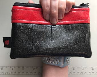 Zippered Pouch - Sparkle Vinyl Coin Purse/Change Purse (Black & Red)