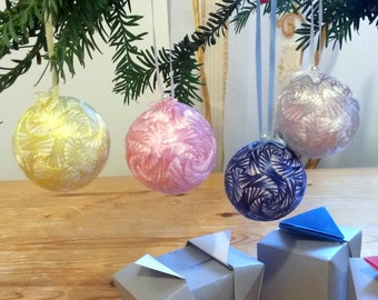Pastel colors Christmas ornaments, Japanese Temari balls, Embroidered swirls, 4 piece set, Oriental home decor, Origami box gift wrapped, UK